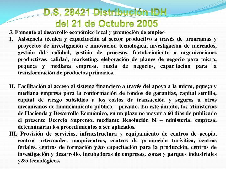D.S. 28421 Distribución IDH