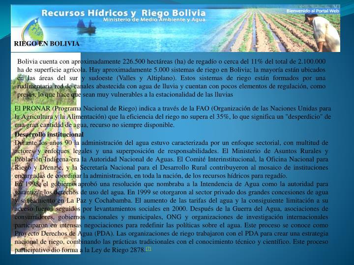 RIEGO EN BOLIVIA