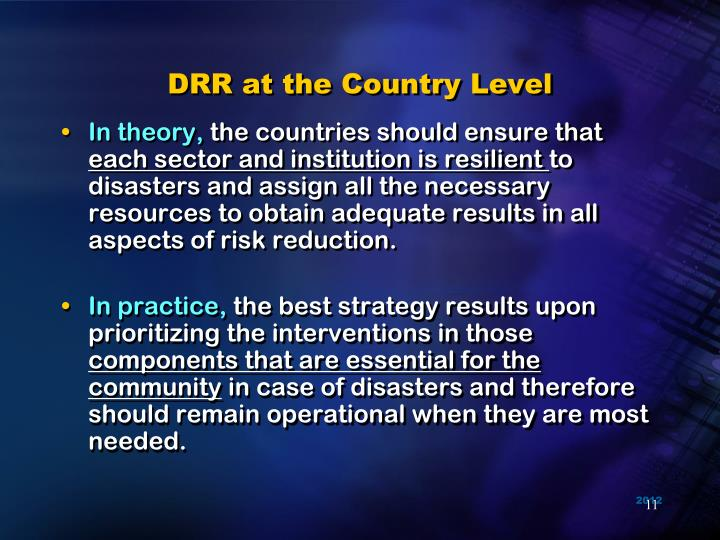 DRR at the Country Level