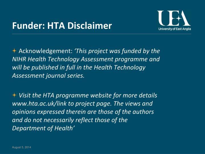 Funder: HTA Disclaimer