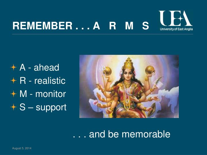 REMEMBER . . . A   R   M   S