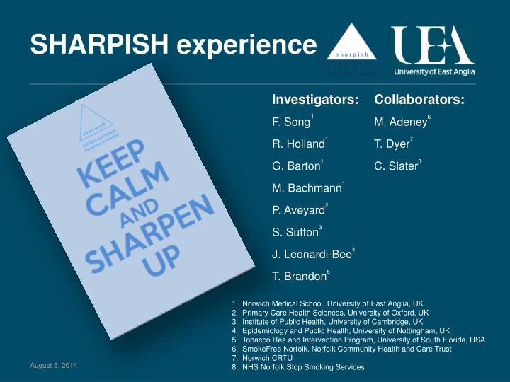 SHARPISH experience