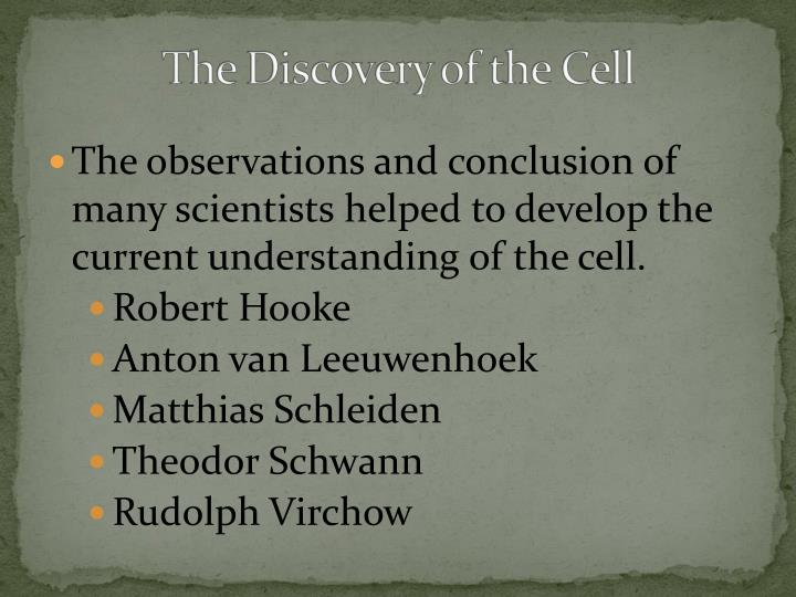 The observations and conclusion of many scientists helped to develop the current understanding of the cell.