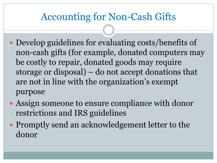 Accounting for Non-Cash Gifts