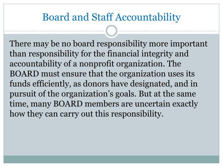 Board and Staff Accountability