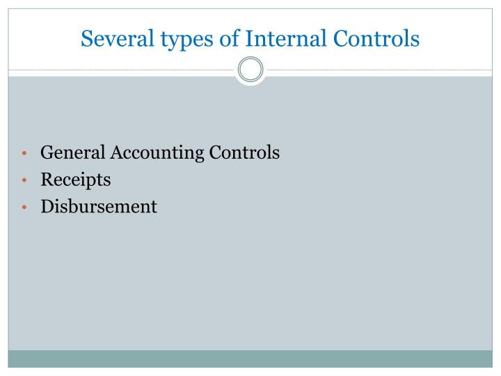 Several types of Internal Controls