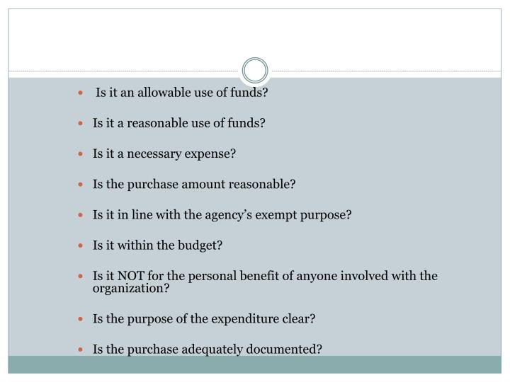 Is it an allowable use of funds?