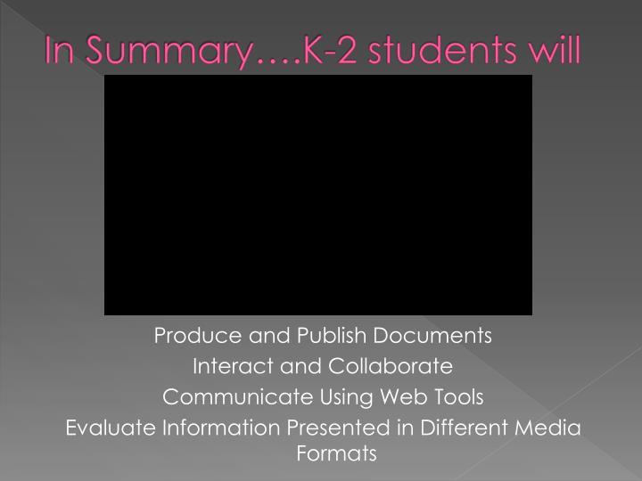 In Summary….K-2 students will