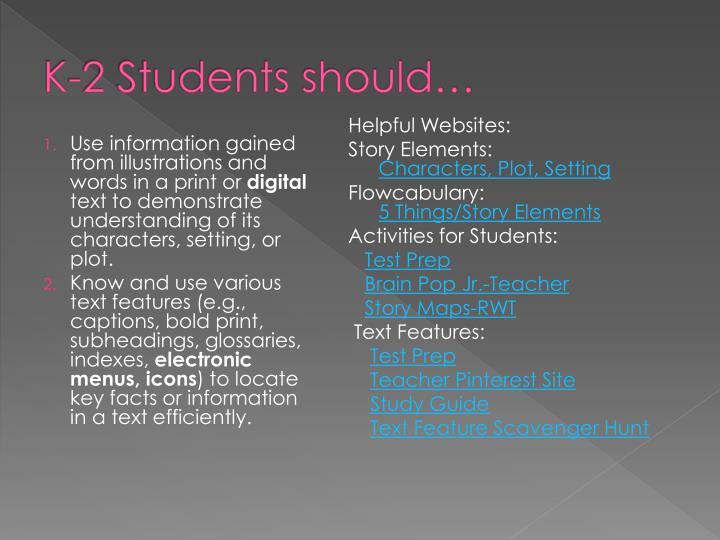 K-2 Students should…