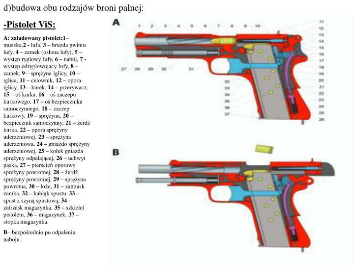 d)budowa obu rodzajów broni palnej: