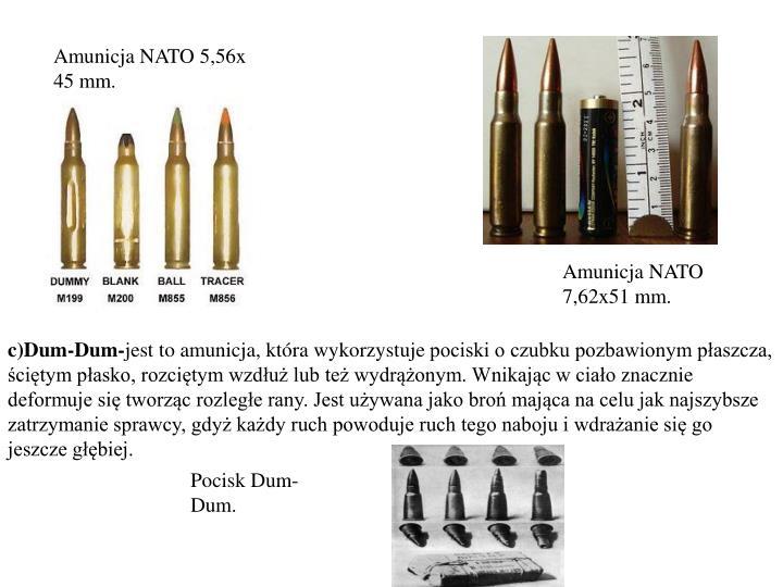 Amunicja NATO 5,56x 45 mm.