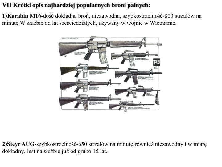 VII Krótki opis najbardziej popularnych broni palnych: