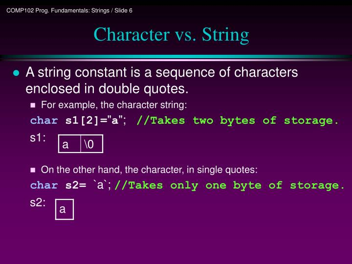 Character vs. String