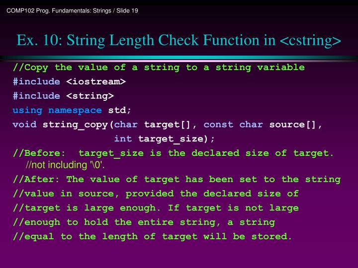 Ex. 10: String Length Check Function in <cstring>