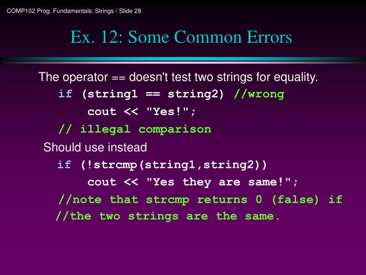 Ex. 12: Some Common Errors