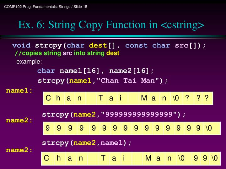 Ex. 6: String Copy Function in <cstring>