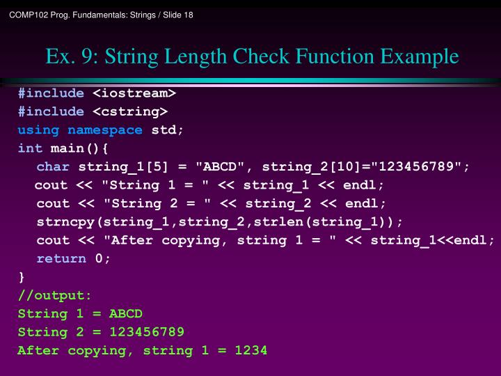 Ex. 9: String Length Check Function Example