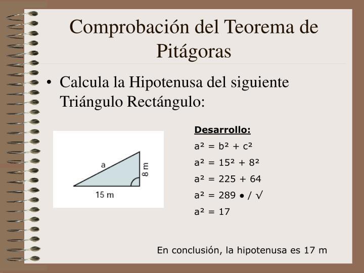 Comprobación del Teorema de Pitágoras