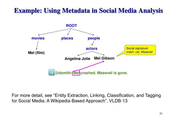 Example: Using Metadata in Social Media Analysis