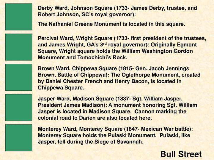 Derby Ward, Johnson Square (1733- James Derby, trustee, and Robert Johnson, SC's royal governor):
