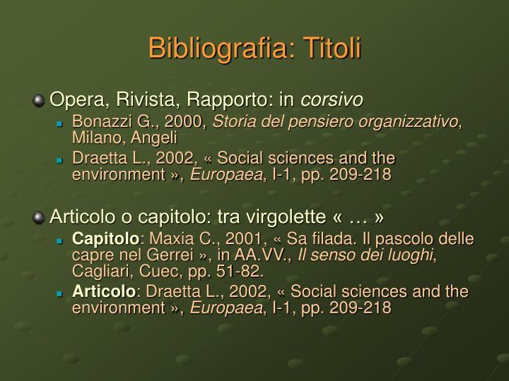 Bibliografia: Titoli