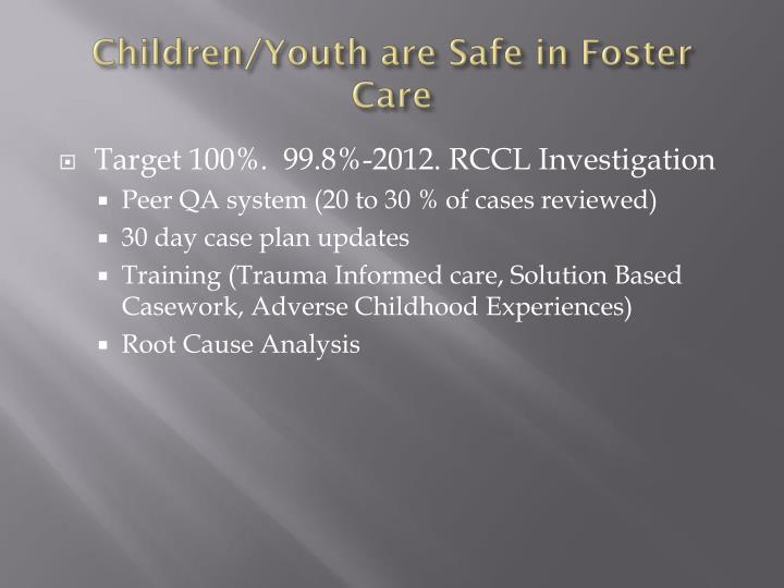 Children/Youth are Safe in Foster Care