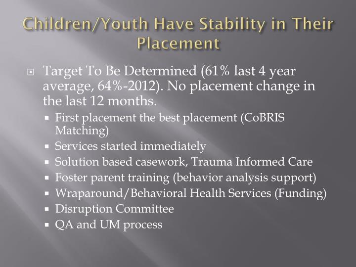 Children/Youth Have Stability in Their Placement