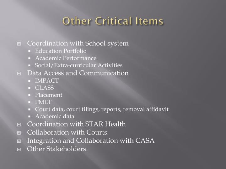 Other Critical Items