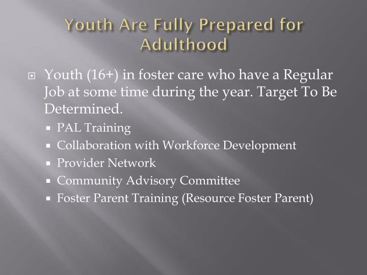 Youth Are Fully Prepared for Adulthood