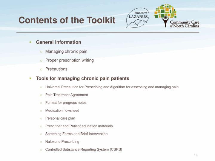 Contents of the Toolkit