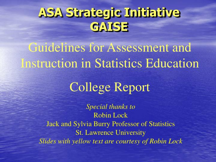 Asa strategic initiative gaise