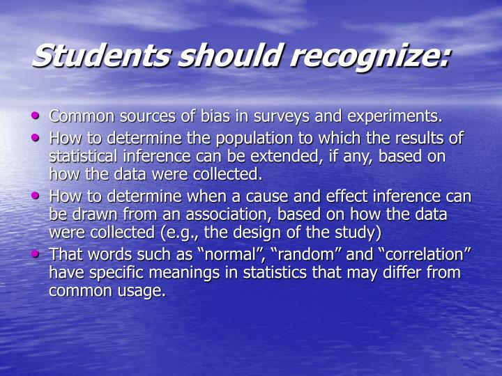 Students should recognize: