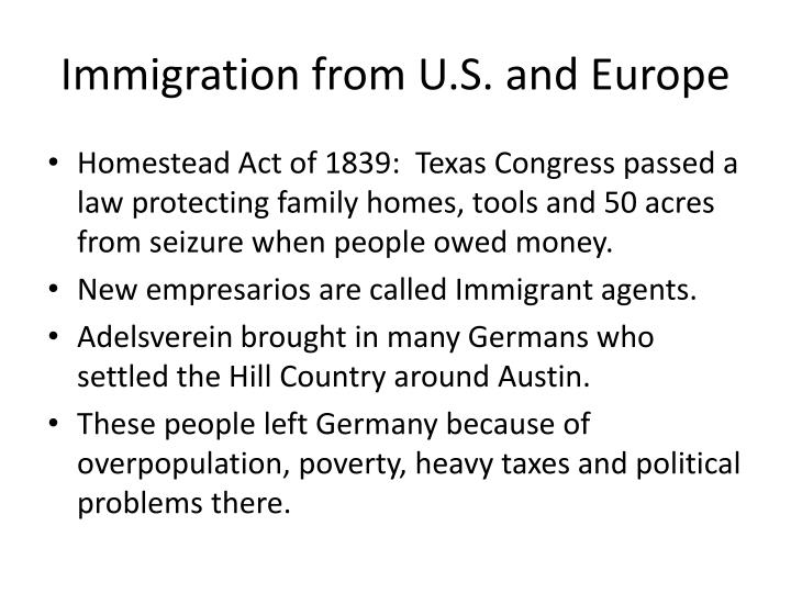 Immigration from U.S. and Europe