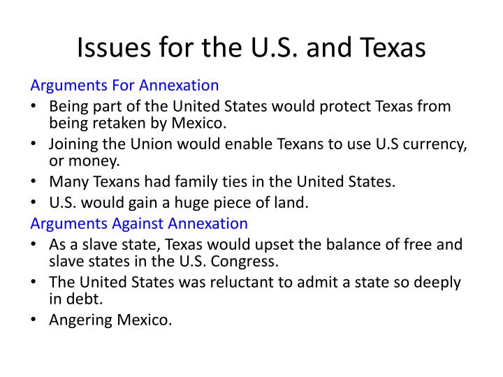 Issues for the U.S. and Texas