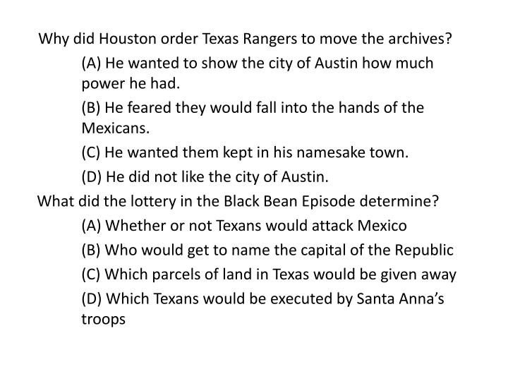 Why did Houston order Texas Rangers to move the archives?