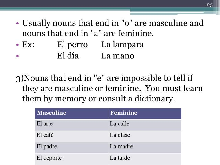 """Usually nouns that end in """"o"""" are masculine and nouns that end in """"a"""" are feminine."""