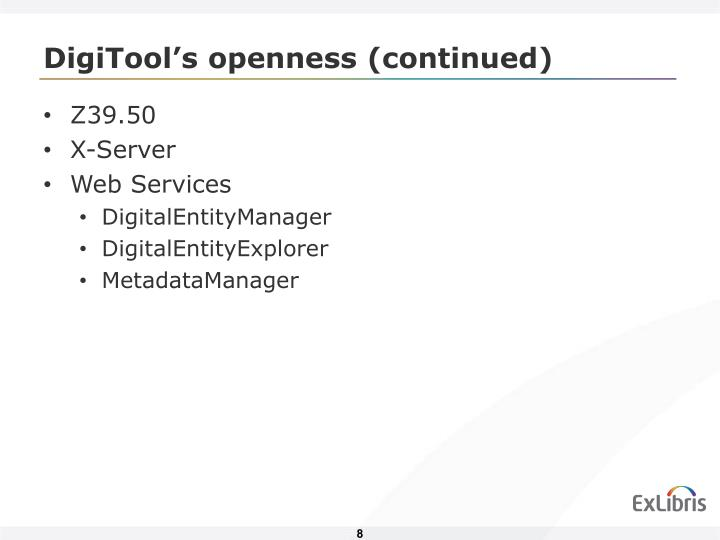 DigiTool's openness (continued)