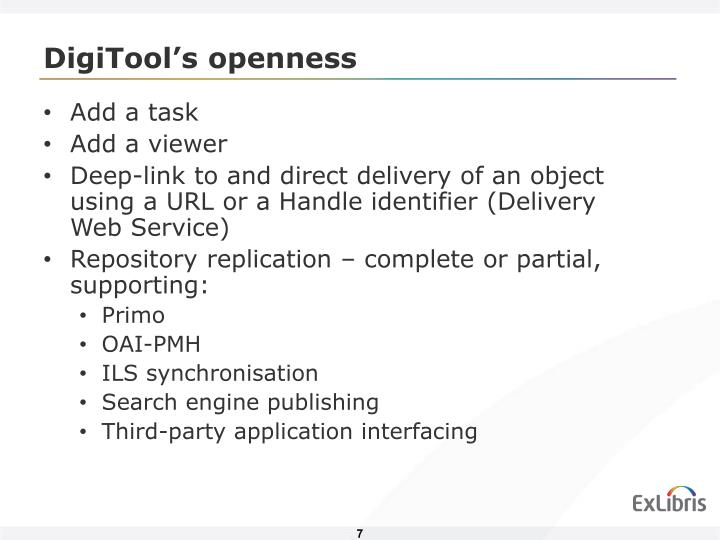 DigiTool's openness
