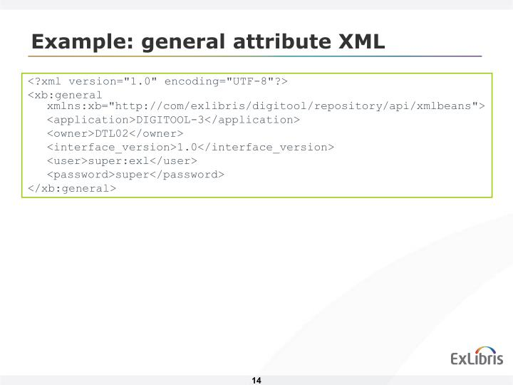 Example: general attribute XML