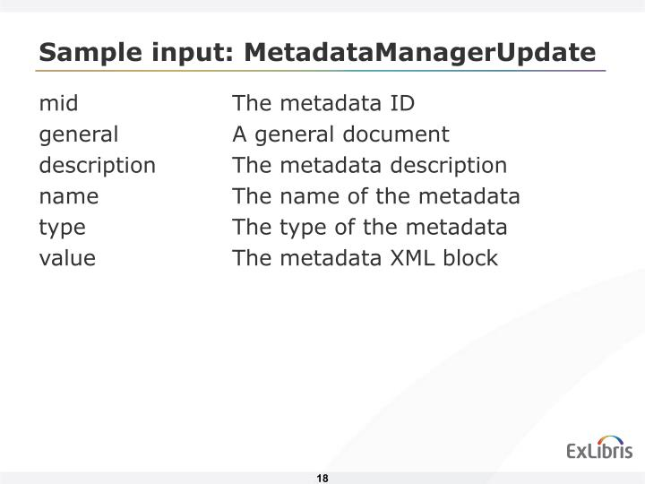 Sample input: MetadataManagerUpdate