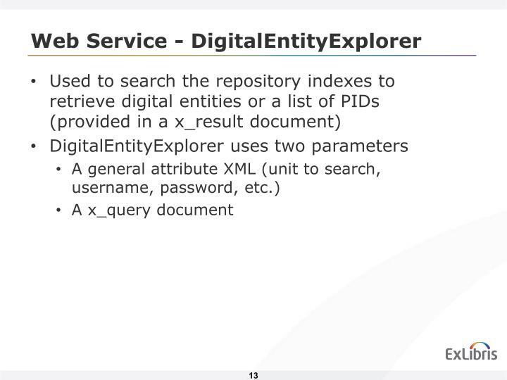 Web Service - DigitalEntityExplorer