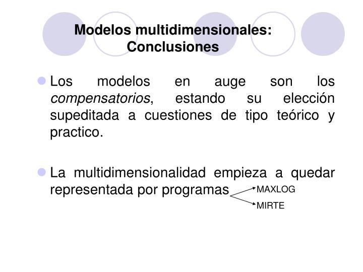Modelos multidimensionales: Conclusiones