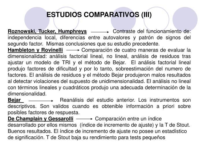 ESTUDIOS COMPARATIVOS (III)