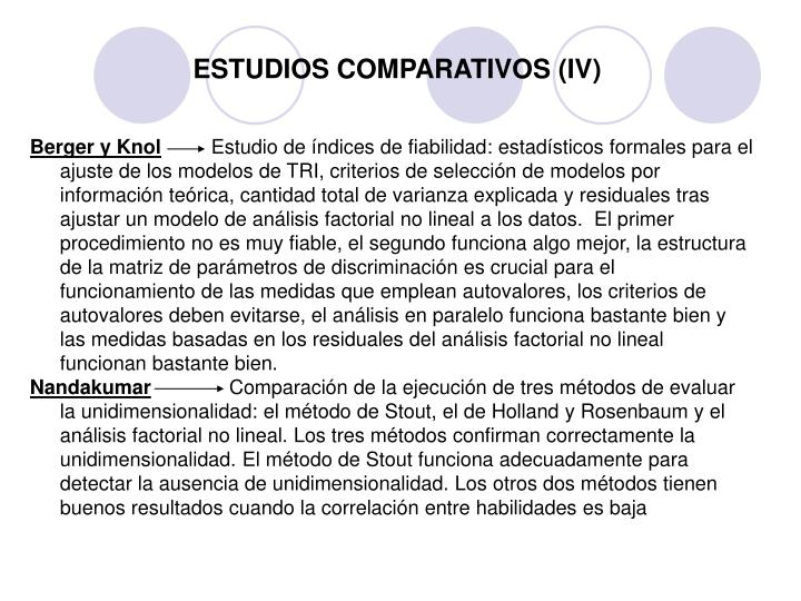 ESTUDIOS COMPARATIVOS (IV)