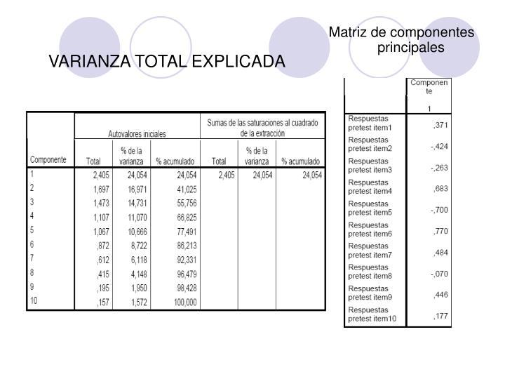 Matriz de componentes principales