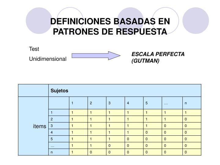 DEFINICIONES BASADAS EN PATRONES DE RESPUESTA