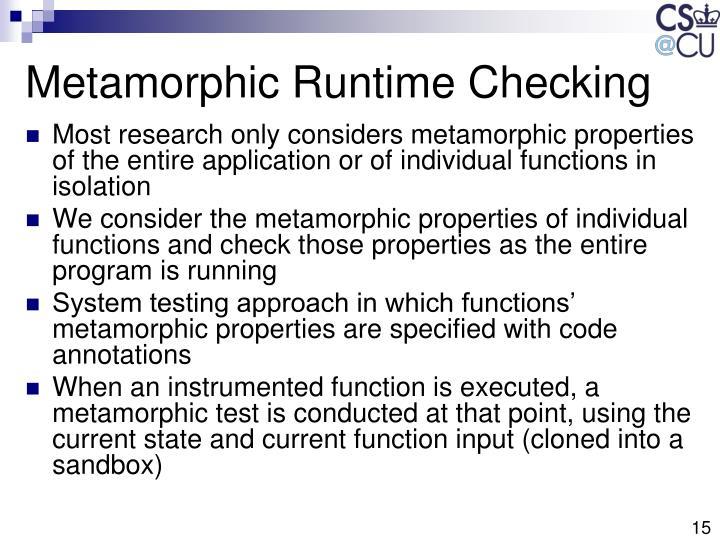 Metamorphic Runtime Checking