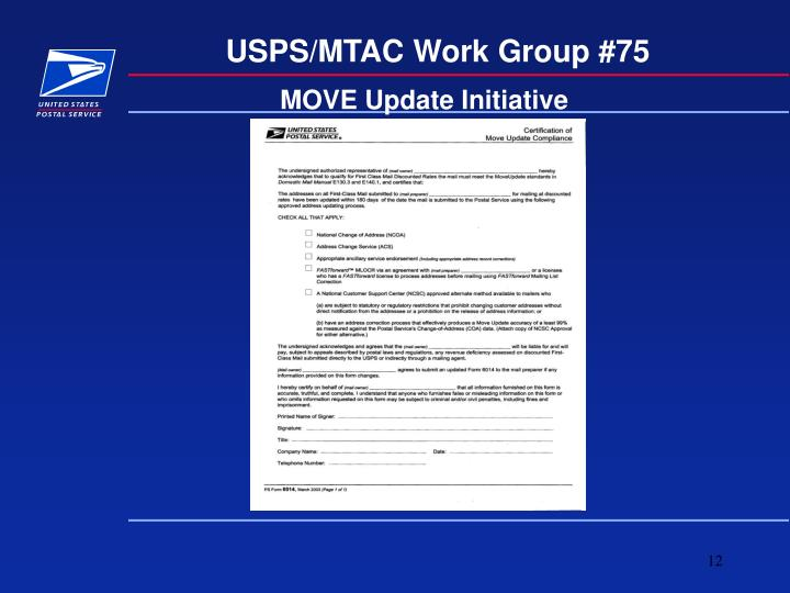 USPS/MTAC Work Group #75