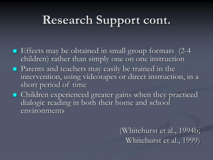 Research Support cont.