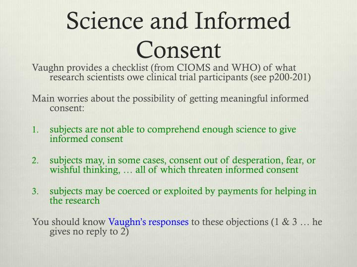 Science and Informed Consent
